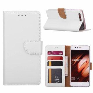 Luxe Lederen Bookcase hoesje voor de Huawei P10 - Wit