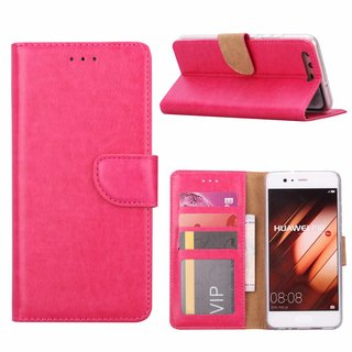 Luxe Lederen Bookcase hoesje voor de Huawei P10 - Roze