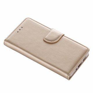 Luxe Lederen Bookcase hoesje voor de Huawei P10 Lite - Goud