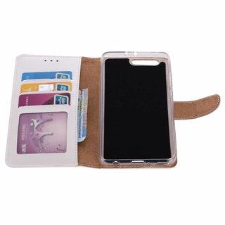 Luxe Lederen Bookcase hoesje voor de Huawei P10 Plus - Wit
