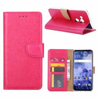 Luxe Lederen Bookcase hoesje voor de HTC U11 Plus - Roze