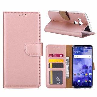 Luxe Lederen Bookcase hoesje voor de HTC U11 Plus - Metallic Roze