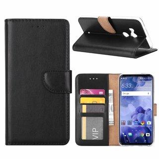 Luxe Lederen Bookcase hoesje voor de HTC U11 Plus - Zwart
