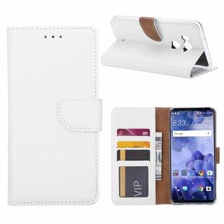 Luxe Lederen Bookcase hoesje voor de HTC U11 Plus - Wit