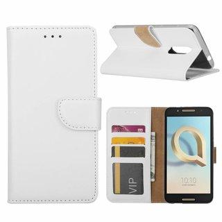 Luxe Lederen Bookcase hoesje voor de Alcatel A7 - Wit