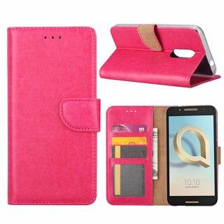 Luxe Lederen Bookcase hoesje voor de Alcatel A7 - Roze