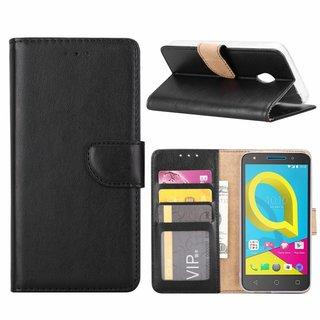 Luxe Lederen Bookcase hoesje voor de Alcatel U5 HD - Zwart