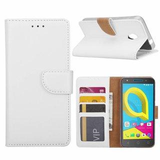 Luxe Lederen Bookcase hoesje voor de Alcatel U5 HD - Wit