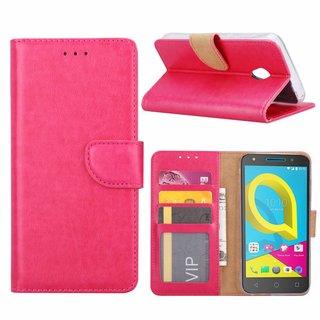 Luxe Lederen Bookcase hoesje voor de Alcatel U5 HD - Roze
