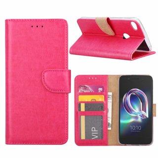 Luxe Lederen Bookcase hoesje voor de Alcatel Idol 5 - Roze