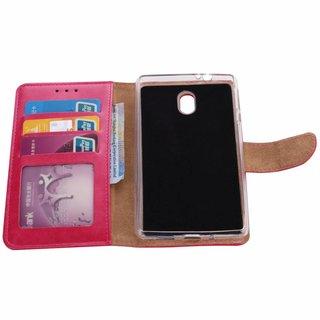 Luxe Lederen Bookcase hoesje voor de Nokia 3 - Roze