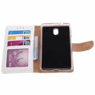 Luxe Lederen Bookcase hoesje voor de Nokia 3 - Wit