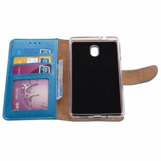 Luxe Lederen Bookcase hoesje voor de Nokia 3 - Blauw