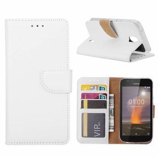 Bookcase Nokia 1 hoesje - Wit