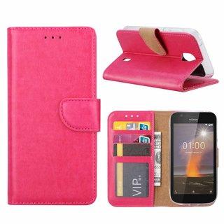 Bookcase Nokia 1 hoesje - Roze
