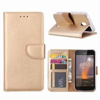 Bookcase Nokia 1 hoesje - Goud