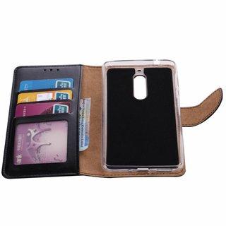 Luxe Lederen Bookcase hoesje voor de Nokia 5 - Zwart