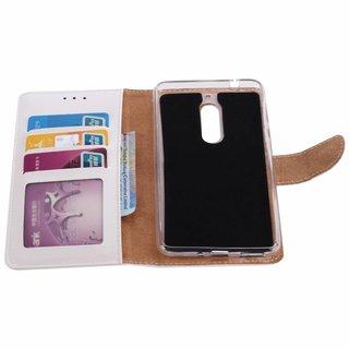Luxe Lederen Bookcase hoesje voor de Nokia 5 - Wit