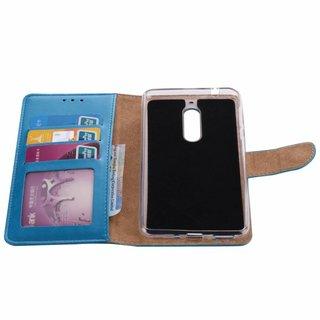 Luxe Lederen Bookcase hoesje voor de Nokia 5 - Blauw