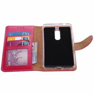 Luxe Lederen Bookcase hoesje voor de Nokia 5 - Roze