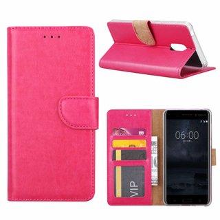 Bookcase Nokia 6 hoesje - Roze