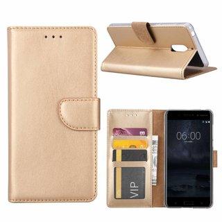 Bookcase Nokia 6 hoesje - Goud