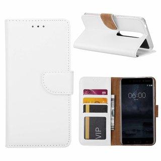 Bookcase Nokia 6 hoesje - Wit
