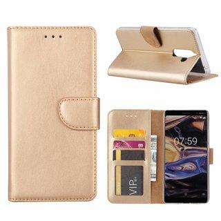Bookcase Nokia 7 Plus hoesje - Goud