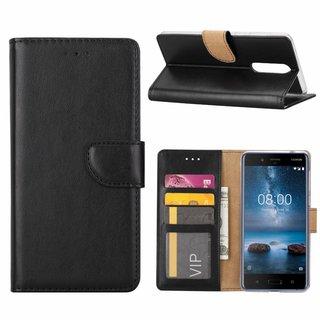 Luxe Lederen Bookcase hoesje voor de Nokia 8 - Zwart