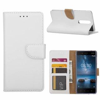 Luxe Lederen Bookcase hoesje voor de Nokia 8 - Wit