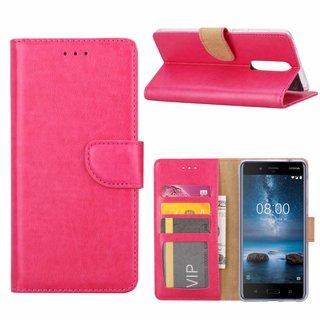 Luxe Lederen Bookcase hoesje voor de Nokia 8 - Roze