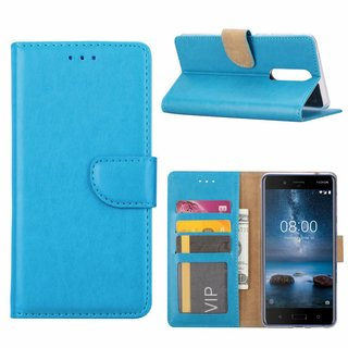 Luxe Lederen Bookcase hoesje voor de Nokia 8 - Blauw