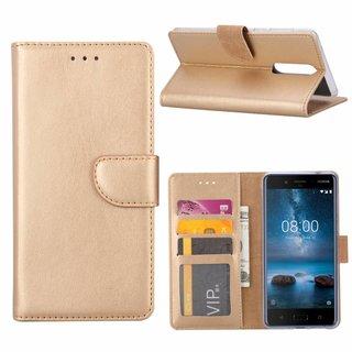 Luxe Lederen Bookcase hoesje voor de Nokia 8 - Goud