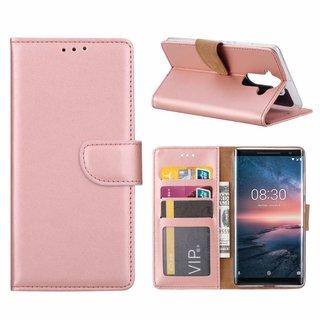 Bookcase Nokia 8 Sirocco hoesje - Rosé Goud