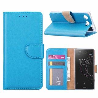 Luxe Lederen Bookcase hoesje voor de Sony Xperia XZ1 Compact - Blauw