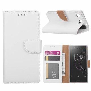 Luxe Lederen Bookcase hoesje voor de Sony Xperia XZ1 Compact - Wit
