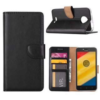 Bookcase Motorola Moto C hoesje - Zwart