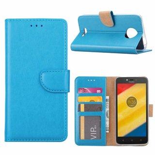 Bookcase Motorola Moto C hoesje - Blauw