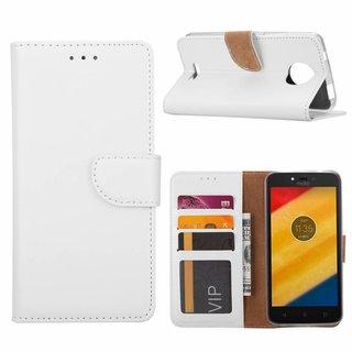 Bookcase Motorola Moto C hoesje - Wit