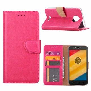 Bookcase Motorola Moto C hoesje - Roze