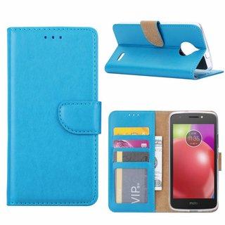 Luxe Lederen Bookcase hoesje voor de Motorola Moto E4 - Blauw