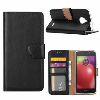 Luxe Lederen Bookcase hoesje voor de Motorola Moto E4 - Zwart