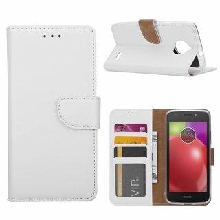 Luxe Lederen Bookcase hoesje voor de Motorola Moto E4 - Wit