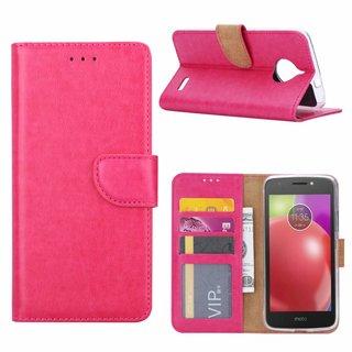 Luxe Lederen Bookcase hoesje voor de Motorola Moto E4 - Roze