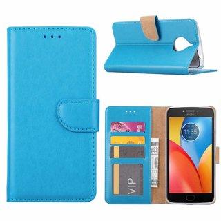 Luxe Lederen Bookcase hoesje voor de Motorola Moto E4 Plus - Blauw