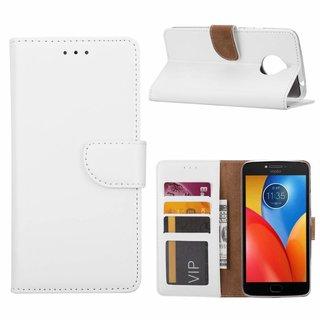 Luxe Lederen Bookcase hoesje voor de Motorola Moto E4 Plus - Wit