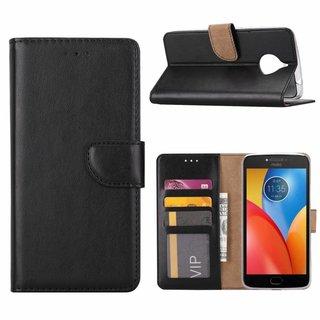 Luxe Lederen Bookcase hoesje voor de Motorola Moto E4 Plus - Zwart