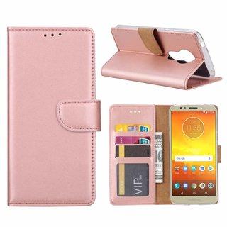 Luxe Lederen Bookcase hoesje voor de Motorola Moto E5 - Metallic Roze