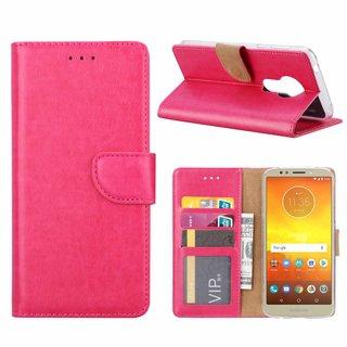 Luxe Lederen Bookcase hoesje voor de Motorola Moto E5 - Roze