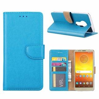 Luxe Lederen Bookcase hoesje voor de Motorola Moto E5 - Blauw